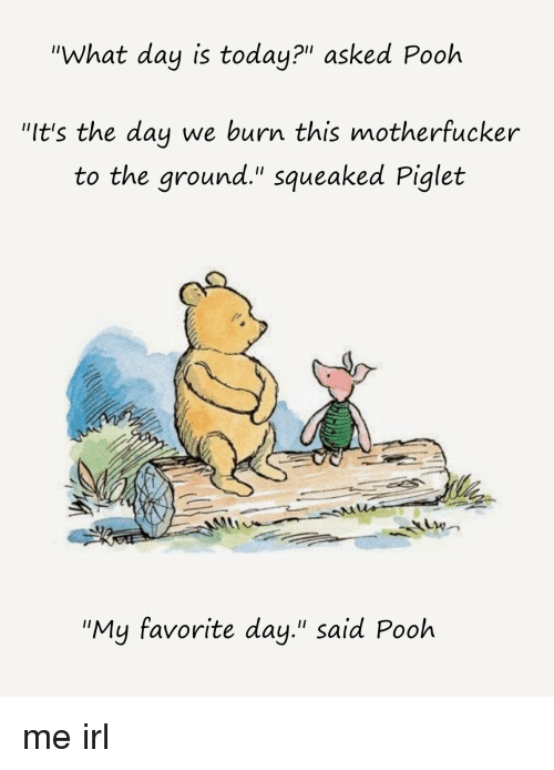 """Today, Irl, and Me IRL: """"What day is today?"""" asked Pooh  """"It's the day we burn this motherfucker  to the ground."""" squeaked Piglet  """"My favorite day."""" said Pooh"""