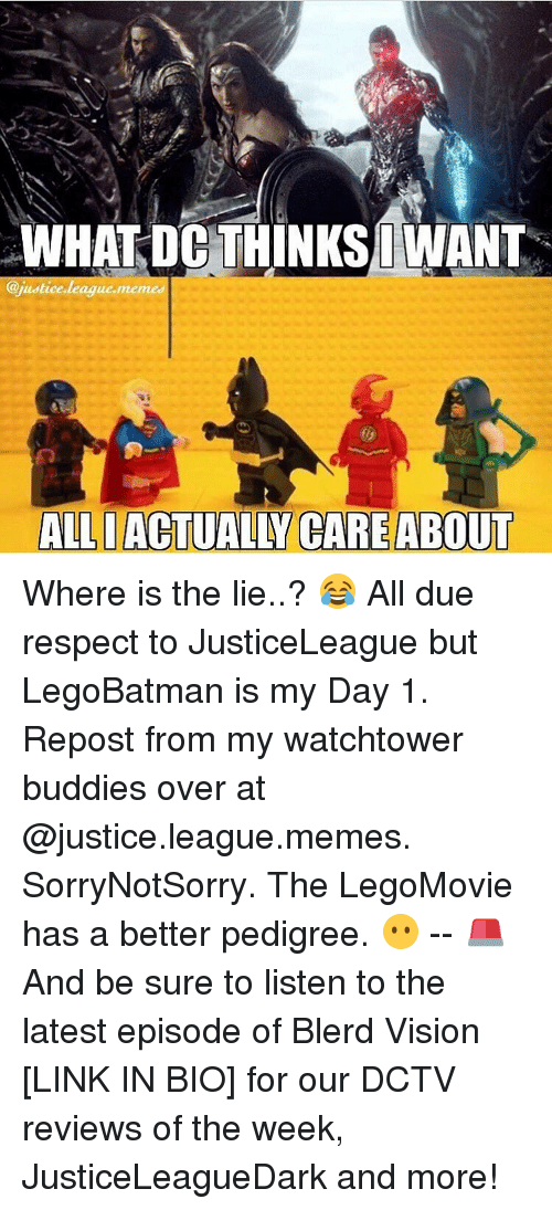 Justice League Meme: WHAT DC THINKS IWANT  @justice league meme  ALLI ACTUALLY CARE ABOUT Where is the lie..? 😂 All due respect to JusticeLeague but LegoBatman is my Day 1. Repost from my watchtower buddies over at @justice.league.memes. SorryNotSorry. The LegoMovie has a better pedigree. 😶 -- 🚨 And be sure to listen to the latest episode of Blerd Vision [LINK IN BIO] for our DCTV reviews of the week, JusticeLeagueDark and more!