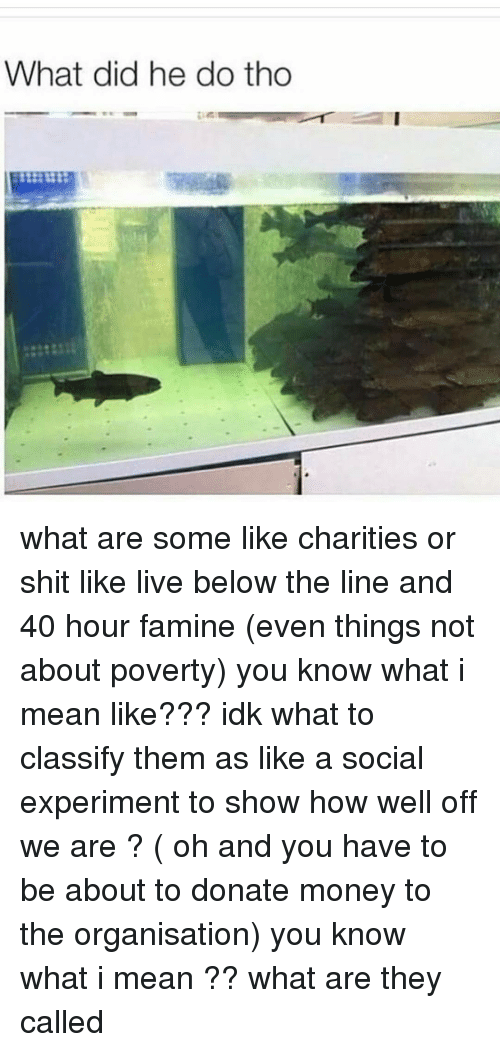 classifieds: What did he do tho what are some like charities or shit like live below the line and 40 hour famine (even things not about poverty) you know what i mean like??? idk what to classify them as like a social experiment to show how well off we are ? ( oh and you have to be about to donate money to the organisation) you know what i mean ?? what are they called