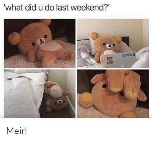 "what did: 'what did u do last weekend?"" Meirl"