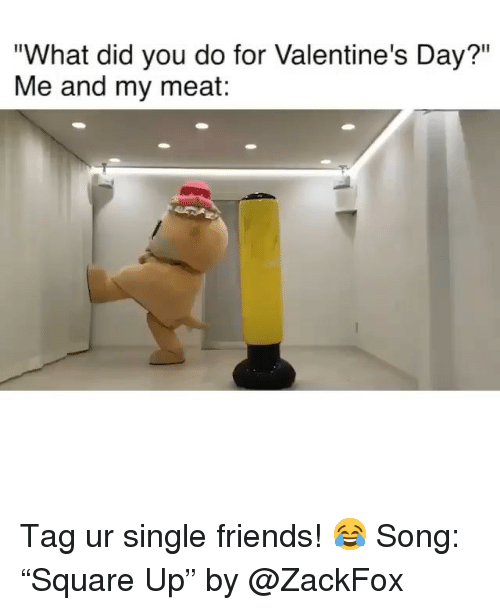 "What Did You Do: ""What did you do for Valentine's Day?""  Me and my meat: Tag ur single friends! 😂 Song: ""Square Up"" by @ZackFox"