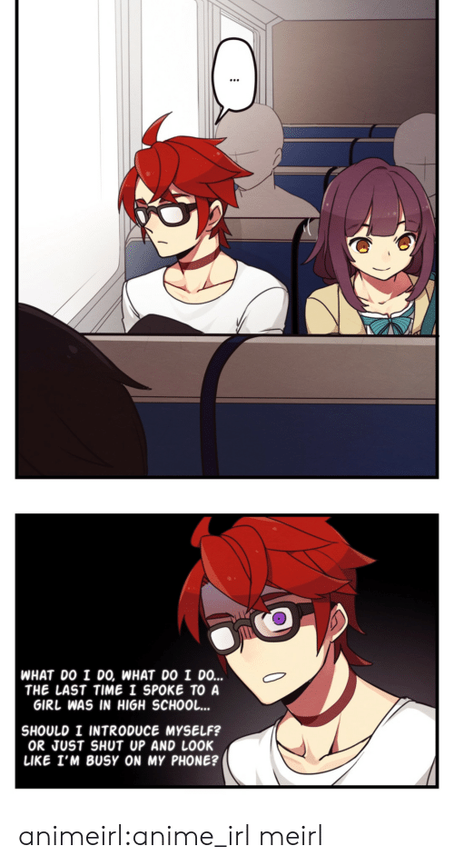 introduce myself: WHAT DO I DO, WHAT DO I DO...  THE LAST TIME I SPOKE TO A  GIRL WAS IN HIGH SCHOOL...  SHOULD I INTRODUCE MYSELF?  OR JUST SHUT UP AND LOOK  LIKE I'M BUSY ON MY PHONE? animeirl:anime_irl meirl