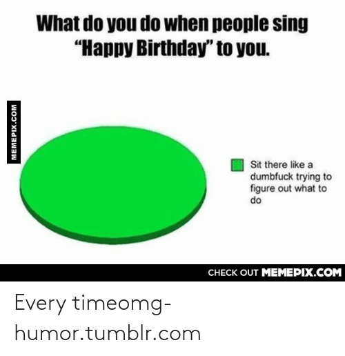 """You Sit: What do you do when people sing  """"Happy Birthday"""" to you.  Sit there like a  dumbfuck trying to  figure out what to  do  CHECK OUT MEMEPIX.COM  MEMEPIX.COM Every timeomg-humor.tumblr.com"""