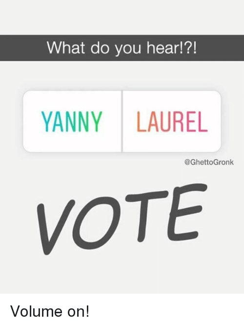 Nfl, Laurel, and You: What do you hear!?!  YANNY LAUREL  @GhettoGronk  VOTE Volume on!