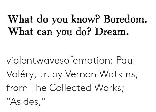 "Boredom: What do you know? Boredom.  What can you do? Dream. violentwavesofemotion:  Paul Valéry, tr. by Vernon Watkins, from The Collected Works; ""Asides,"""