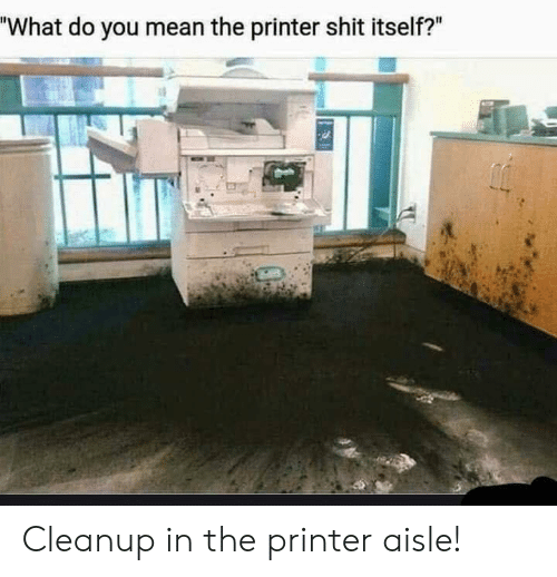"Shit, Mean, and Printer: ""What do you mean the printer shit itself?"" Cleanup in the printer aisle!"