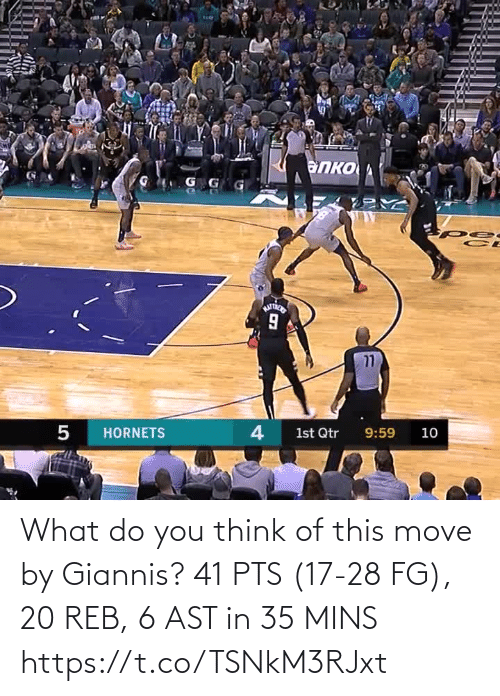 Mins: What do you think of this move by Giannis?   41 PTS (17-28 FG), 20 REB, 6 AST in 35 MINS https://t.co/TSNkM3RJxt