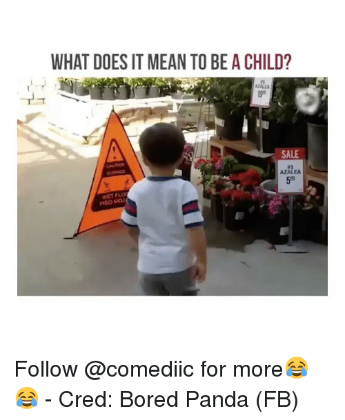 Bored, Memes, and Flo: WHAT DOES IT MEAN TO BE A CHILD?  AZALE  SALE  CAUTION  #2  AZALEA  59  WET FLO  PISO MOJ Follow @comediic for more😂😂 - Cred: Bored Panda (FB)