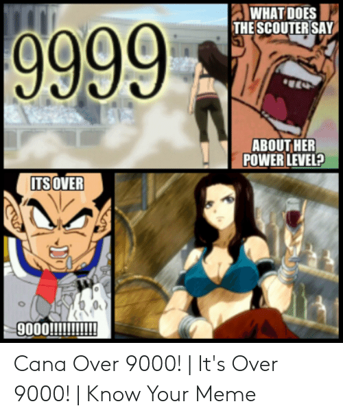 Over 9000 Meme: WHAT DOES  THE SCOUTER SAY  ABOUT HER  POWER LEVEL?  ITS OVER Cana Over 9000! | It's Over 9000! | Know Your Meme