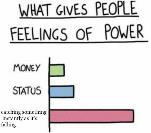 Memes, Money, and Power: WHAT GIVES PEOPLE  FEELINGS OF POWER  MONEY  STATUS  catching something  instantly as it's  falling