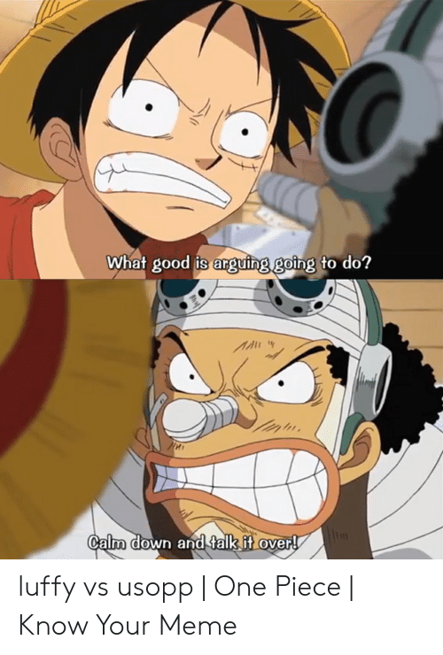Luffy Meme: What good is anguing going to do?  Calm down and talk it over! luffy vs usopp | One Piece | Know Your Meme