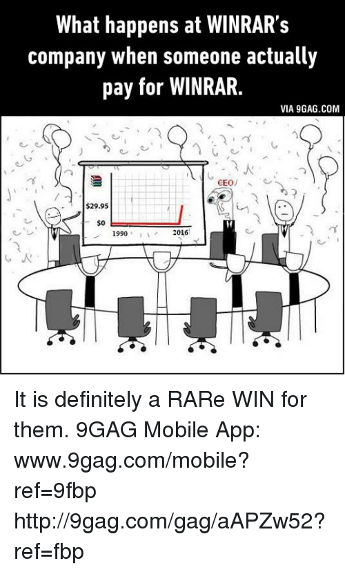 mobile app: What happens at WINRAR's  company when someone actually  pay for WINRAR.  VIA 9GAG.COM  CEO  $29.95  $0  2016  1990 It is definitely a RARe WIN for them. 9GAG Mobile App: www.9gag.com/mobile?ref=9fbp  http://9gag.com/gag/aAPZw52?ref=fbp