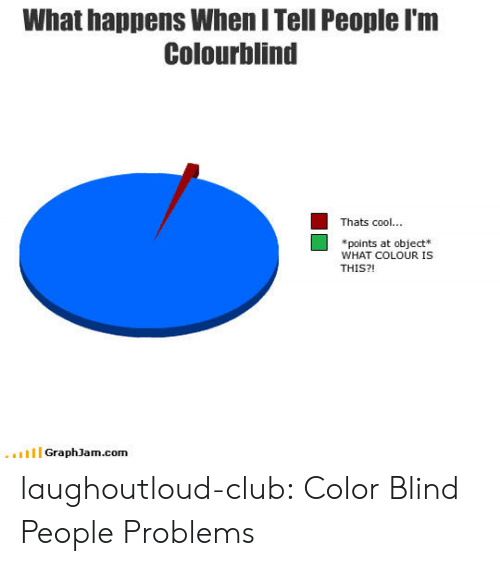 color blind: What happens When I Tell People I'm  Colourblind  Thats cool..  *points at object*  WHAT COLOUR IS  THIS?!  GraphJam.com laughoutloud-club:  Color Blind People Problems