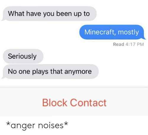 Minecraft, Been, and One: What have you been up to  Minecraft, mostly  Read 4:17 PM  Seriously  No one plays that anymore  Block Contact *anger noises*