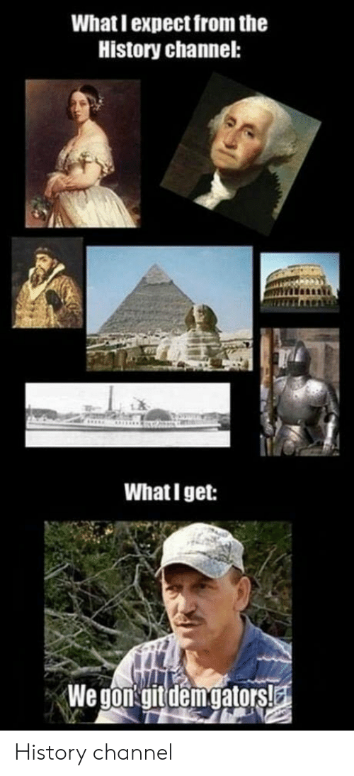 History, History Channel, and Channel: What I expect from the  History channel:  What I get: History channel