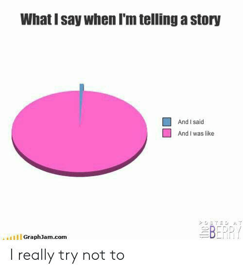 Try Not: What I say when I'm telling a story  And I said  And I was like  BERR  HGraphJam.com I really try not to