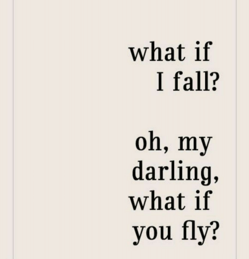darling: what if  I fall?  oh, my  darling,  what if  you fly?