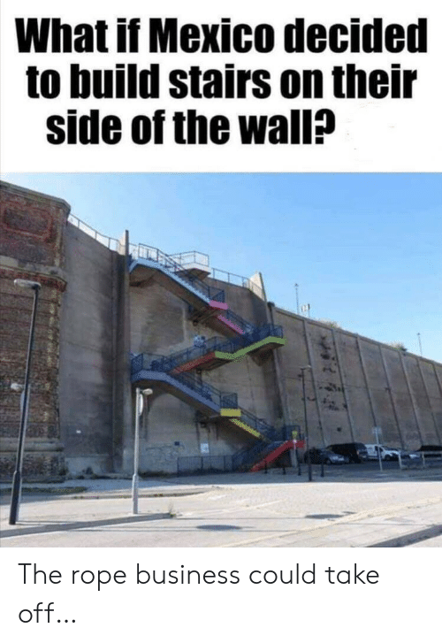 Stairs: What if Mexico decided  to build stairs on their  side of the wall? The rope business could take off…