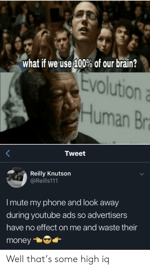 Money, Phone, and youtube.com: what if we use 100% of our brain?  Evolution  VO  Human Br  Tweet  Reilly Knutson  @Reills111  I mute my phone and look away  during youtube ads so advertisers  have no effect on me and waste their  money Well that's some high iq
