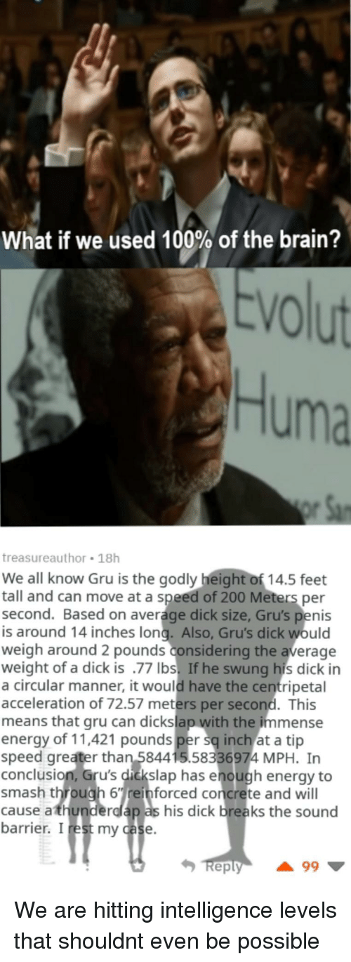 barrier: What if we used 100% of the brain?  VO  Huma  treasureauthor 18h  We all know Gru is the godly height of 14.5 feet  tall and can move at a speed of 200 Meters per  second. Based on average dick size, Gru's penis  is around 14 inches long. Also, Gru's dick would  weigh around 2 pounds considering the average  weight of a dick is .77 Ibs. If he swung his dick in  a circular manner, it would have the centripetal  acceleration of 72.57 meters per second. This  means that gru can dickslap with the immense  energy of 11,421 pounds per sq inch at a tip  speed greater than 584415.58336974 MPH. In  conclusion, Gru's dickslap has enough energy to  smash through 6einforced concrete and will  cause athunderdlap as his dick breaks the sound  barrier. I rest my case  eply We are hitting intelligence levels that shouldnt even be possible