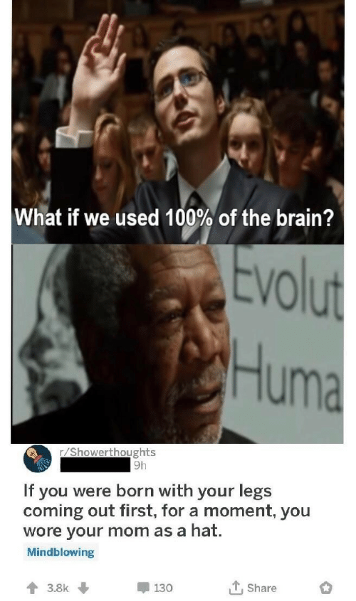 Brain, Mom, and First: What if we used 100% of the brain?  vol  Huma  r/Showerthoughts  9h  If you were born with your legs  coming out first, for a moment, you  wore your mom as a hat.  Mindblowing  t, Share  130  3.8k