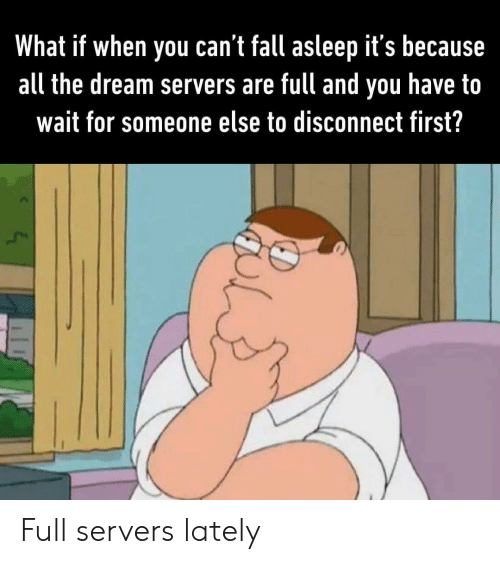 the dream: What if when you can't fall asleep it's because  all the dream servers are full and  have to  you  wait for someone else to disconnect first? Full servers lately