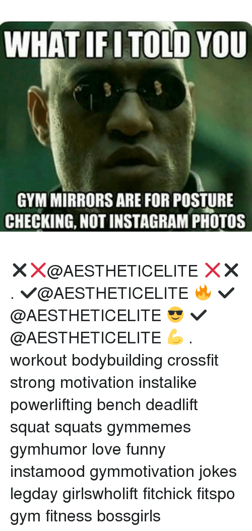 posturing: WHAT IFI TOLD YOU  GYM MIRRORS ARE FOR POSTURE  CHECKING, NOT INSTAGRAM PHOTOS ✖❌@AESTHETICELITE ❌✖ . ✔@AESTHETICELITE 🔥 ✔@AESTHETICELITE 😎 ✔@AESTHETICELITE 💪 . workout bodybuilding crossfit strong motivation instalike powerlifting bench deadlift squat squats gymmemes gymhumor love funny instamood gymmotivation jokes legday girlswholift fitchick fitspo gym fitness bossgirls