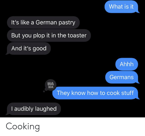 Good, How To, and Stuff: What is it  It's like a German pastry  But you plop it in the toaster  And it's good  Ahhh  Germans  HA  HA  They know how to cook stuff  I audibly laughed Cooking