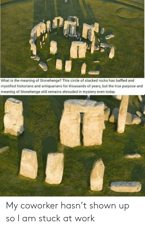 rocks: What is the meaning of Stonehenge? This circle of stacked rocks has baffled and  mystified historians and antiquarians for thousands of years, but the true purpose and  meaning of Stonehenge still remains shrouded in mystery even today. My coworker hasn't shown up so I am stuck at work