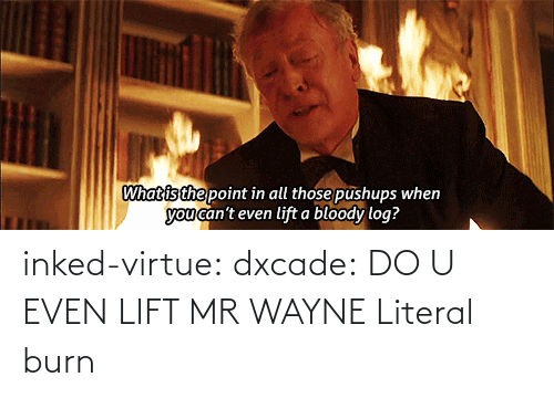Even Lift: What is the point in all those pushups when  you can't even lift a bloody log? inked-virtue:  dxcade:  DO U EVEN LIFT MR WAYNE  Literal burn