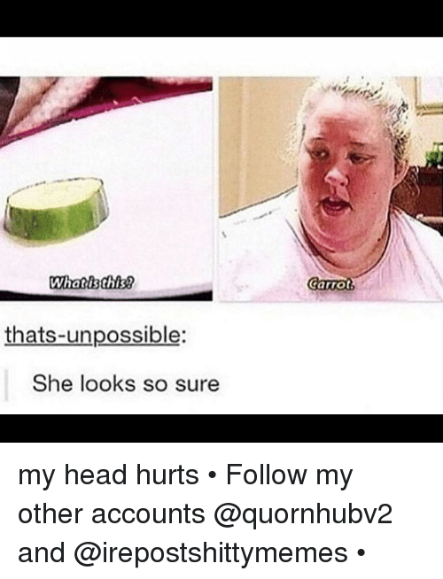 Unpossible: What is this?  thats-unpossible:  She looks so sure  Carrot my head hurts • Follow my other accounts @quornhubv2 and @irepostshittymemes •
