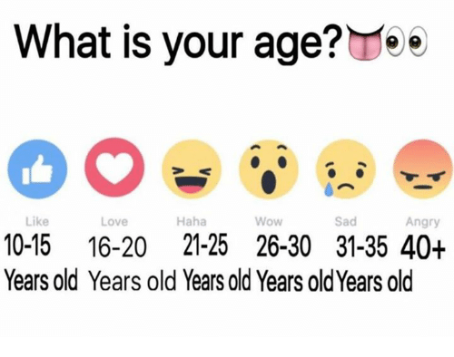 What Is Your Age E Like Love Haha Wow Sad Angry 10 15 16 20 21 25 26 30 31 35 40 Years Old Years Old Years Old Years Old Years Old Love Meme On Astrologymemes Com
