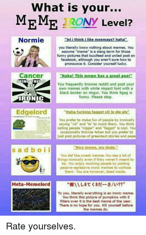 """Ironic Memes: What is your...  MEME Ny  Level?  Normie  """"lol think i like meemays? haha""""  you literally know nothing about memes. You  assume """"meme"""" is a slang term for those  funny pictures that buzzfeed and unilad post on  facebook, although you aren't sure how to  pronounce it. Consider yourself lucky.  Cancer  """"Haha! This meme has a great pun!""""  FIN  THIS A  You frequently browse reddit and post your  BIT  own memes with white impact font with a  black border on imgur. You think 9gag is  funny. Please stop.  IRONIC  Edge  """"Haha fucking faggotxD le die pls""""  You prefer to make fun of people by Ironically  saying """"xD"""" and """"le"""" to mock them. You think  calling people """"nigger and """"faggot is cool. You  occasionally browse 4chan but you prefer to  just post pictures of greentext stories and pepe  Nice meme my dude  s a d b o i i  You def like sweet mernes. You see a lot of  things ironically even if they weren't meant to  be. You enjoy mocking people by posting  passive agressive ironic memes to confuse  them, You are however, dead inside,  Meta-Meme lord  To you, literally everything is an ironic meme.  You think this picture of pumpkins with 8  filters over it is the best meme of the year.  There is no hope for you. Kill yourself before  the memes do. Rate yourselves."""
