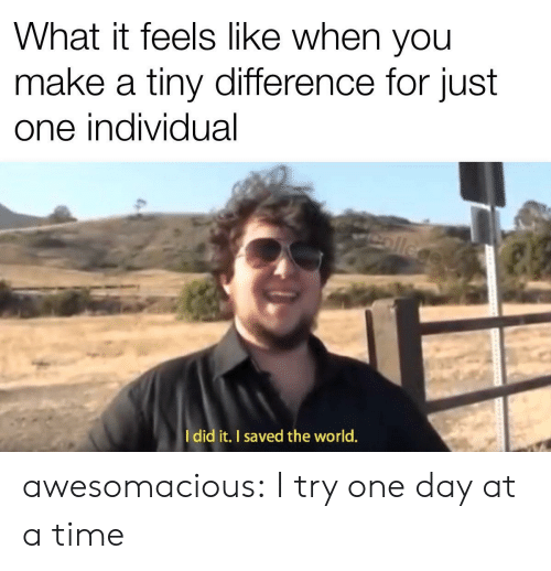 Individual: What it feels like when you  make a tiny difference for just  one individual  ollege  Idid it. I saved the world. awesomacious:  I try one day at a time