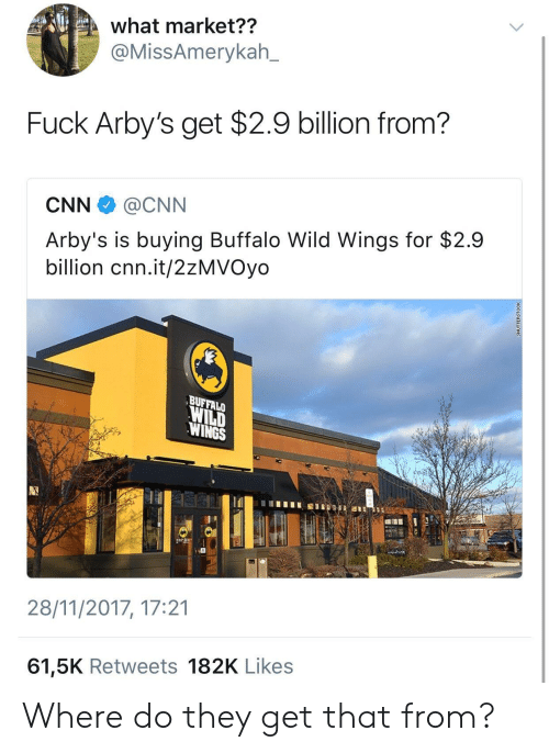 buffalo wild wings: what market??  @MissAmerykah_  Fuck Arby's get $2.9 billion from?  CNN @CNN  Arby's is buying Buffalo Wild Wings for $2.9  billion cnn.it/2zMVOyo  BUFFALO  WILD  WINGS  28/11/2017, 17:21  61,5K Retweets 182K Likes Where do they get that from?