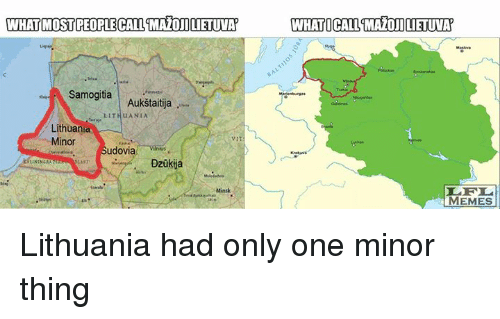 lithe: WHAT MOSTPEOPLECALL MAZOJILIETUVA  Samogitia  Aukstaitija  LITH u ANIA  Lithuania  Minor  udovia  Dzukija  WHATICALLTMAOILIETUVA  MEMES Lithuania had only one minor thing