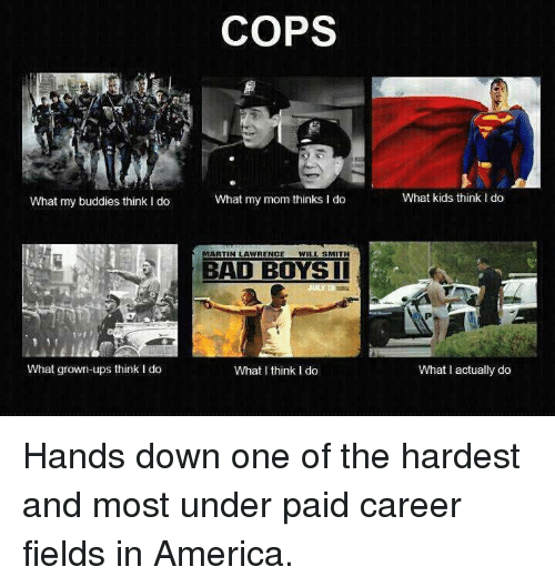 I Think I Do: What my buddies think I do  What grown-ups think I do  COPS  What my mom thinks I do  MARTIN LAWRENCE  WILL SMITH  BAD BOYS II  What I think I do  What kids think Ido  What actually do Hands down one of the hardest and most under paid career fields in America.