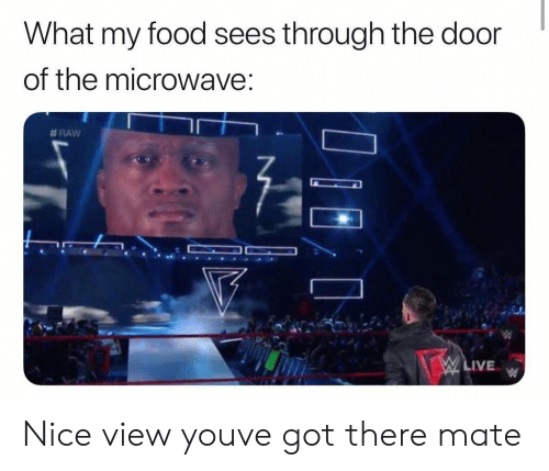 Food, Live, and Nice: What my food sees through the door  of the microwave  #RAW  LIVE Nice view youve got there mate