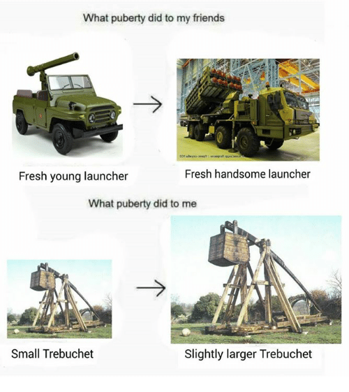 trebuchets: What puberty did to my friends  Fresh young launcher  Fresh handsome launcher  What puberty did to me  Small Trebuchet  Slightly larger Trebuchet
