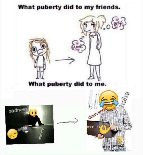 Imfao: What puberty did to my friends.  What puberty did to me.  sadness  death Imfao  memes  ima sadoos  anxiety  Friends  moue not adoad pu  spuauyo  Byey