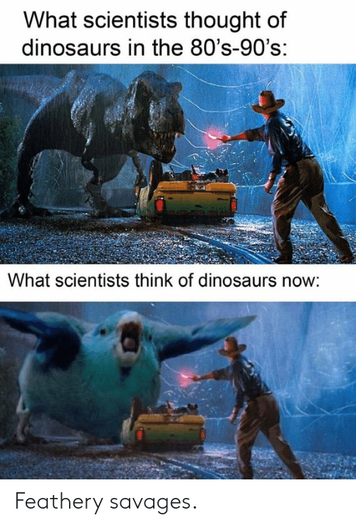 80s: What scientists thought of  dinosaurs in the 80's-90's:  What scientists think of dinosaurs now: Feathery savages.