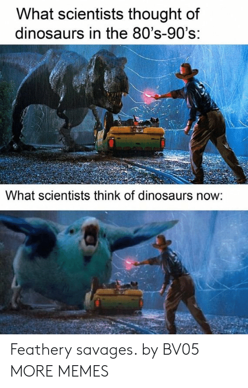 80s: What scientists thought of  dinosaurs in the 80's-90's:  What scientists think of dinosaurs now: Feathery savages. by BV05 MORE MEMES