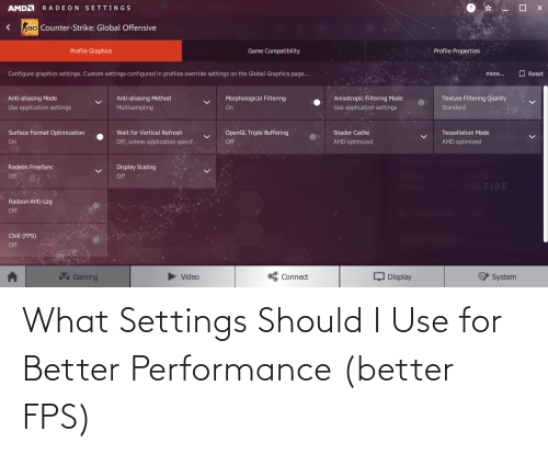 fps: What Settings Should I Use for Better Performance (better FPS)