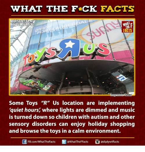 """Children, Dank, and Facts: WHAT THE FCK FACTS  AR  WHAT  FACTS  ource Tumblr  Some Toys """"R"""" Us location are implementing  quiet hours, where lights are dimmed and music  is turned down so children with autism and other  sensory disorders can enjoy holiday shopping  and browse the toys in a calm environment.  Cu diplywtffacts  FB.com/WhatTheFacts  @WhatTheF Facts"""