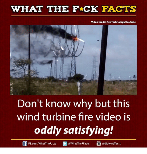 Oddly Satisfying: WHAT THE FCK FACTS  Video Credit: e Technology/Youtube  Don't know why but this  wind turbine fire video is  oddly satisfying!  FB.com/WhatThe Facts  WhatTheFFacts  adiplywtffacts