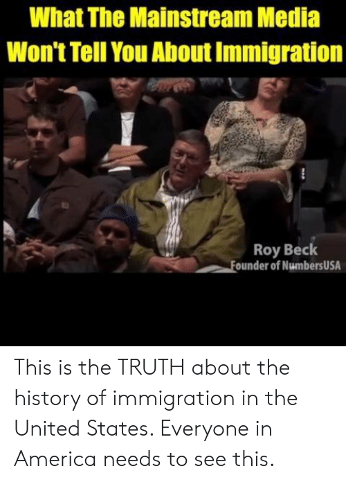 America, Memes, and Beck: What The Mainstream Media  Won't Tell You About Immigration  Roy Beck  ounder of NumbersUSA This is the TRUTH about the history of immigration in the United States. Everyone in America needs to see this.