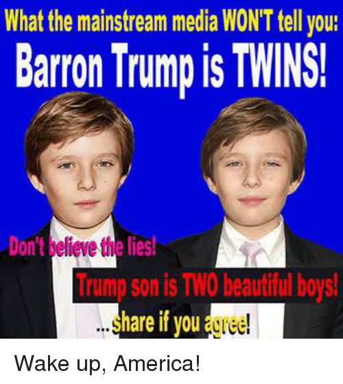 wake up america: What the mainstream media WONT tell you:  Barron Trumpis TWINS!  Dont elieve the lies!  Imp son is TWO beautiful boys!  hare if you Wake up, America!