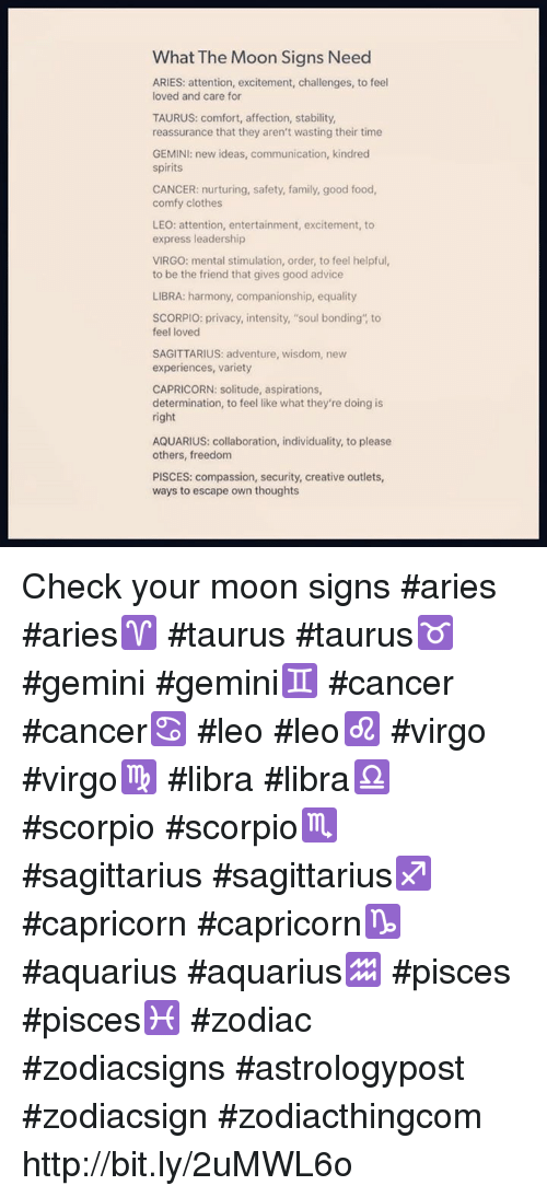 What the Moon Signs Need ARIES Attention Excitement