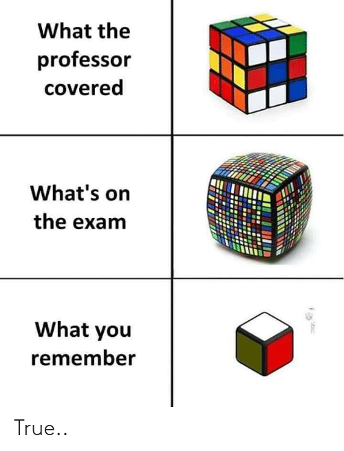 True, Remember, and You: What the  professor  covered  What's on  the exam  What you  remember True..