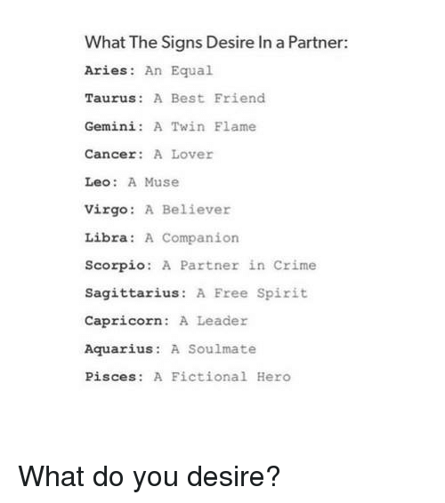 What the Signs Desire in a Partner Aries an Equal Taurus a